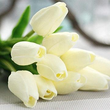 chunqi Fiori Artificiali, Bouquet di Tulipani Finti in Seta, realistici al Tocco, per Matrimoni o Decorazione della casa, del Giardino, per Feste Bianco 10PC - 2