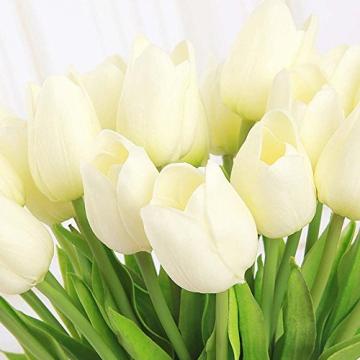 chunqi Fiori Artificiali, Bouquet di Tulipani Finti in Seta, realistici al Tocco, per Matrimoni o Decorazione della casa, del Giardino, per Feste Bianco 10PC - 3