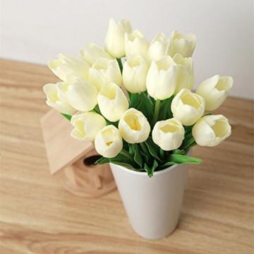 chunqi Fiori Artificiali, Bouquet di Tulipani Finti in Seta, realistici al Tocco, per Matrimoni o Decorazione della casa, del Giardino, per Feste Bianco 10PC - 4