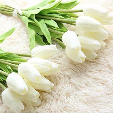 chunqi Fiori Artificiali, Bouquet di Tulipani Finti in Seta, realistici al Tocco, per Matrimoni o Decorazione della casa, del Giardino, per Feste Bianco 10PC - 5
