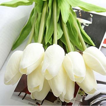 chunqi Fiori Artificiali, Bouquet di Tulipani Finti in Seta, realistici al Tocco, per Matrimoni o Decorazione della casa, del Giardino, per Feste Bianco 10PC - 6