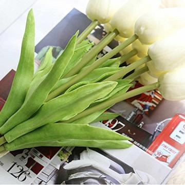 chunqi Fiori Artificiali, Bouquet di Tulipani Finti in Seta, realistici al Tocco, per Matrimoni o Decorazione della casa, del Giardino, per Feste Bianco 10PC - 7