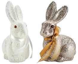 COM-FOUR® 2 Coniglietti Decorativi, Luccicanti Coniglietti pasquali Perfetti Come Decorazione Pasquale (02 Pezzi - Coniglietto Glitterato) - 1