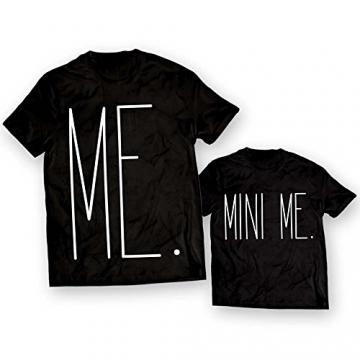 Coppia di T-Shirt Maglie Padre - Figlio Figlia Idea Regalo Festa del Papa' Me Mini Me Nere Uomo L - Bimbo 3-4 Anni - 1