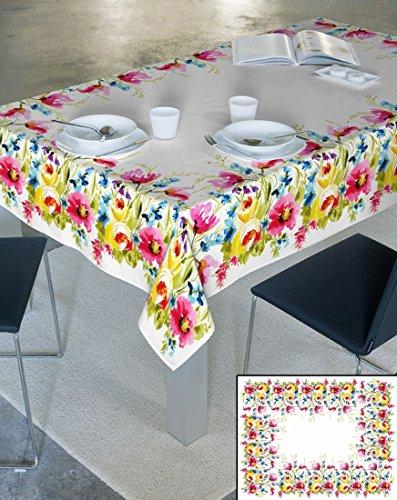 Crema 100% cotone tovaglia tavolo panno ornamenti forma effetto loto fleckenabweisend facile da pulire pratico Motivo Floreale Fiore Motivi Modern Folk Pasqua Primavera Sunny, cotone, crema, 40 x 140 - 1