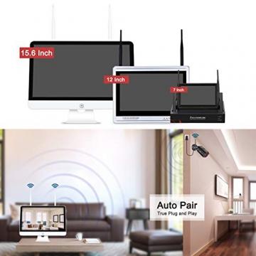 【All-In-One】Kit Videosorveglianza Wifi NVR 1080P 4 Canali con monitor LCD da 15,6 pollici, Telecamera da CCTV IP 1080P HD da esterno senza fili, Plug & Play, accesso remoto facile, con 1TB HDD SWINWAY - 2