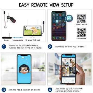 【All-In-One】Kit Videosorveglianza Wifi NVR 1080P 4 Canali con monitor LCD da 15,6 pollici, Telecamera da CCTV IP 1080P HD da esterno senza fili, Plug & Play, accesso remoto facile, con 1TB HDD SWINWAY - 3