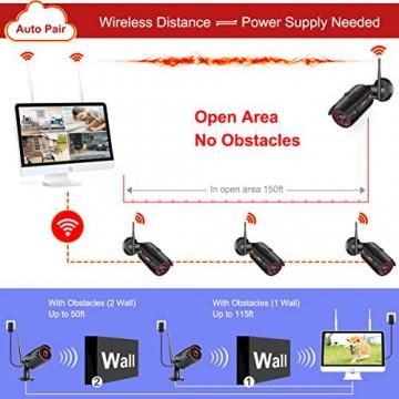 【All-In-One】Kit Videosorveglianza Wifi NVR 1080P 4 Canali con monitor LCD da 15,6 pollici, Telecamera da CCTV IP 1080P HD da esterno senza fili, Plug & Play, accesso remoto facile, con 1TB HDD SWINWAY - 4