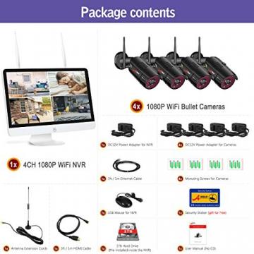【All-In-One】Kit Videosorveglianza Wifi NVR 1080P 4 Canali con monitor LCD da 15,6 pollici, Telecamera da CCTV IP 1080P HD da esterno senza fili, Plug & Play, accesso remoto facile, con 1TB HDD SWINWAY - 7