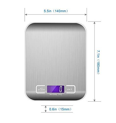 Easy-Link Bilancia da Cucina Digitale con Funzione Tare / display LCD - 5kg/11lb - Acciaio Inox Alta Precision Bilancia Elettronica per la Casa e la Cucina - 1