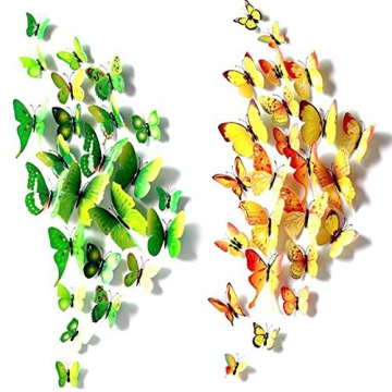 Foonii® 72 Pezzi farfalle 3D adesivi per pareti vari colori decorazione casa stickers murali (12 Pezzi Rosso/Blu / Giallo/Verde / Rosa/Colore) - 2
