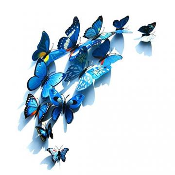 Foonii® 72 Pezzi farfalle 3D adesivi per pareti vari colori decorazione casa stickers murali (12 Pezzi Rosso/Blu / Giallo/Verde / Rosa/Colore) - 3