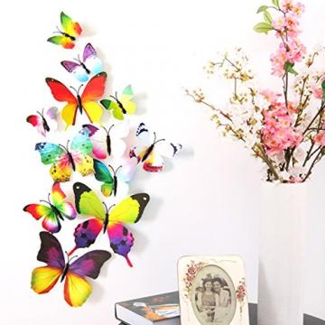 Foonii® 72 Pezzi farfalle 3D adesivi per pareti vari colori decorazione casa stickers murali (12 Pezzi Rosso/Blu / Giallo/Verde / Rosa/Colore) - 4