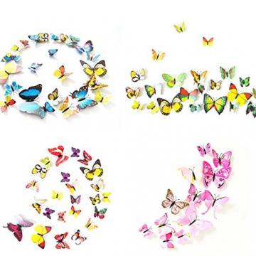 Foonii® 72 Pezzi farfalle 3D adesivi per pareti vari colori decorazione casa stickers murali (12 Pezzi Rosso/Blu / Giallo/Verde / Rosa/Colore) - 5