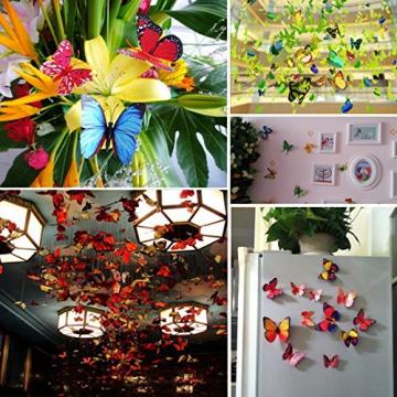 Foonii® 72 Pezzi farfalle 3D adesivi per pareti vari colori decorazione casa stickers murali (12 Pezzi Rosso/Blu / Giallo/Verde / Rosa/Colore) - 6