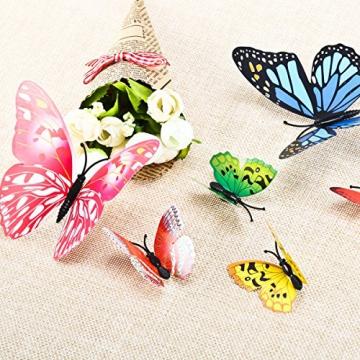 Foonii® 72 Pezzi farfalle 3D adesivi per pareti vari colori decorazione casa stickers murali (12 Pezzi Rosso/Blu / Giallo/Verde / Rosa/Colore) - 7