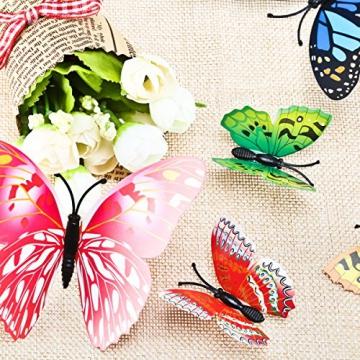 Foonii® 72 Pezzi farfalle 3D adesivi per pareti vari colori decorazione casa stickers murali (12 Pezzi Rosso/Blu / Giallo/Verde / Rosa/Colore) - 8