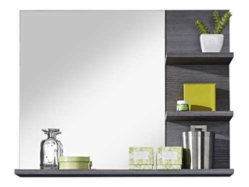 Furnline 1259-401-21 Miami-Specchio da bagno con mensola, in melamina, colore: argento cenere - 1