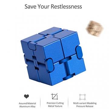 Giocattolo Fidget Infinite Cube in lega di alluminio, Gadget da dito rotante Pocket Cube per bambini e adulti Sollievo anti-stress e ansia, ottimo per Viaggi, Casa e ufficio, Multicolore - 2