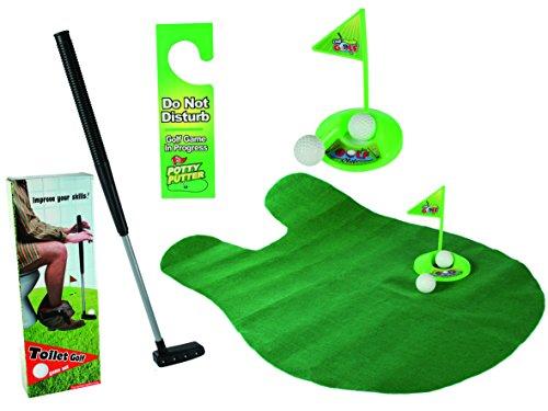 GIOCO da GOLF per TOILETTE set da 6 pezzi mazza da golf regalo scherzo - 1