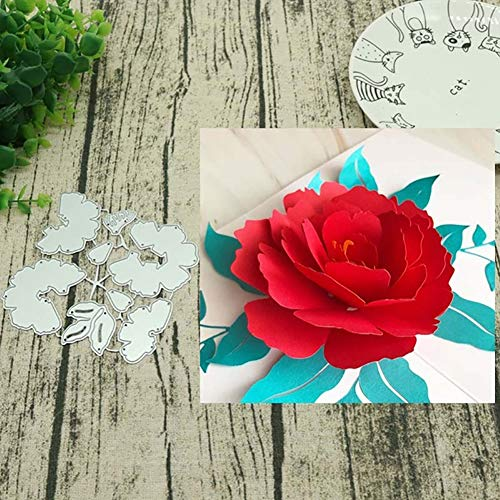 Gmgqsago fustelle fiore 3D DIY metal cutting Dies stencil scrapbook Paper Cards album Craft Decor – argento - 1