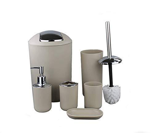 GMMH Set di 6 accessori da bagno, con dispenser per sapone, portasapone e scopino per WC. Beige Design 2 - 1
