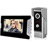 HFeng 7 pollici a colori Videocitofono citofono Citofono Kit 700TVL IR Night Vision Telecamera impermeabile Schermo monitor nero cablato per casa - 1