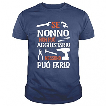 IDEAMAGLIETTA NO0001 T-Shirt Uomo Se Nonno Non può aggiustarlo Nessuno può Farlo Festa del Papa' (XXL, Blu) - 1