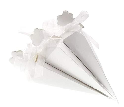 JZK 50 Bianco cono portariso scatola portaconfetti scatolina bomboniere segnaposto per matrimonio compleanno battesimo comunione nascita laurea Natale - 1