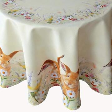 Kamaca Serie Coniglietti su Fiori di Alta qualità con Simpatici Conigli in Primavera Pasqua, Poliestere, Tischdecke 130 cm rund - 1