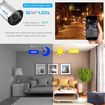 Kit Telecamera Videosorviglianza,SZSINOCAM Telecamera Sorveglianza Wifi(4CH 1080P NVR + 4 x 1080P 2.4GHZ Impermeabile IP66 Telecamera Esterno) P2P, IR-CUT, Visione Notturna, Allarme Email NO HDD - 3
