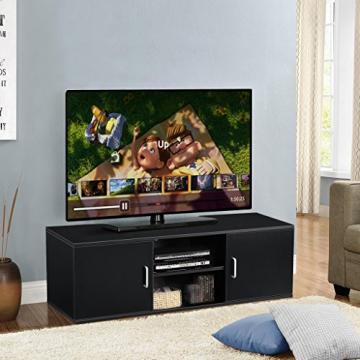 LANGRIA Mobile da Soggiorno Mobile TV Porta di 2-Tier con il Design Classico e Sofistito Nero - 2