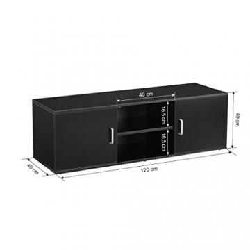 LANGRIA Mobile da Soggiorno Mobile TV Porta di 2-Tier con il Design Classico e Sofistito Nero - 4