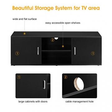 LANGRIA Mobile da Soggiorno Mobile TV Porta di 2-Tier con il Design Classico e Sofistito Nero - 6
