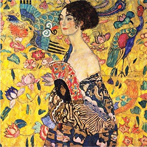 Legendarte P-257 Quadro di  Gustav Klimt - Dama con Ventaglio, Stampa digitale su tela, Multicolore, cm. 90 x 90 - 1