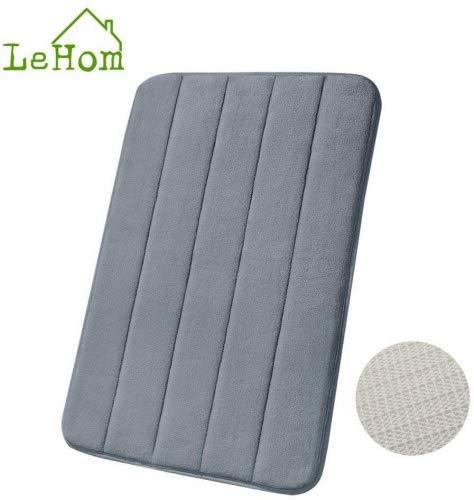 LeHom, tappetino da bagno in memory foam antiscivolo, grigio, dimensioni: 40,6cm x 61cm, Grey New, 40_x_60_cm - 1