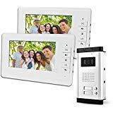 """LIBO 7""""Sistema Videocitofonico Cablato 2 Monitor Due Pulsanti Chiamata con Visione Notturna, Can Control 2 Alloggiato per multi Appartamento/Famiglie - 1"""