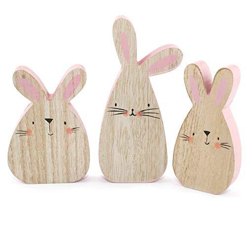 MC Trend Dolce Coniglietto Pasquale Lisu in Set da 3 in Legno Rosa/Naturale Primavera Pasqua Decorazione Altezza 13 – 18 cm - 1