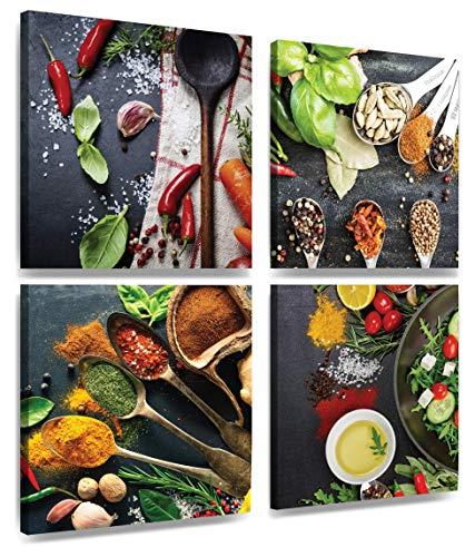 MOISHO Immagini Cucina – spezie Peperoncino – già teso – XXL Wall Art Stampa su Tela 4 x 30 cm x 30 cm - 1