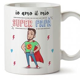 Mugffins Tazza papà Migliore del Mondo – io Amo Il Mio Super papà – Tazza in Ceramica da 350 ml Idea Regalo Festa del papà - 1