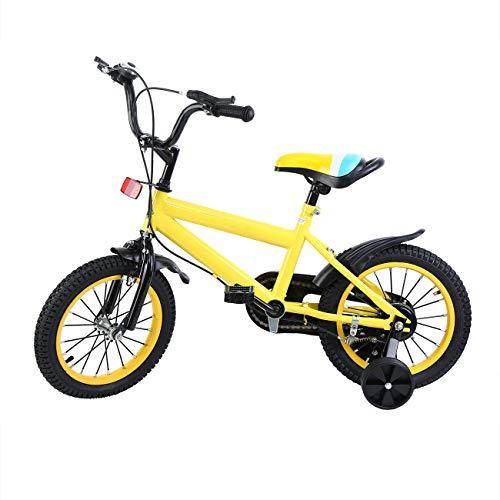 MuGuang 14 Pollici Bicicletta da Bambina Bicicletta per Bambino Studio apprendimento Equitazione Bici Ragazzi Ragazze Bicicletta con stabilizzanti con Bell per 3-8 Anni (Giallo) - 1