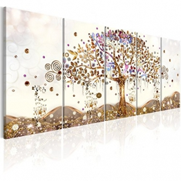 murando Quadro Albero della Vita Klimt 200x80 cm Stampa su Tela in TNT XXL Immagini Moderni Murale Fotografia Grafica Decorazione da Parete 5 Pezzi Astratto l-A-0009-b-n - 1