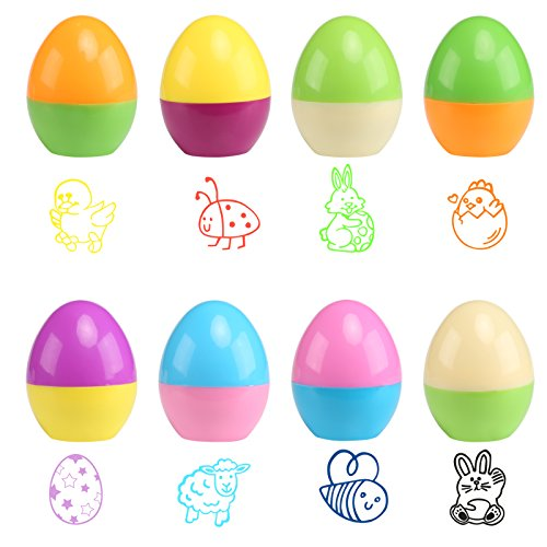 Naler 8PCS Happy Easter Egg timbro autoinchiostrante per bambino da decorare carta & CRAFT party Game Gift 43 mm * 34 mm - 1