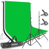 Neewer 2x3M Stand di sfondo, Sistema di Supporto per fondali in mussola 1,8x2,8 M (bianco, nero, verde), morsetti e borsa. Per la fotografia di ritratto, prodotto e riprese video. - 1