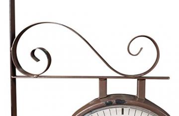 Orologio bifacciale da parete tipo stazione in ferro battuto finitura marrone scuro anticato L42XPR8,5xH32 cm - 5