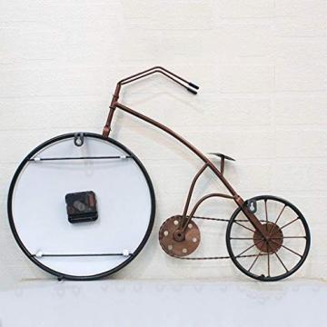 Orologio da Parete Bicicletta/Orologio da Parete Vintage, Numeri Romani in Ferro battuto Orologio Decorativo, Adatto per Soggiorno, Sala da Pranzo, Bar (59 × 38,5 cm) - 3