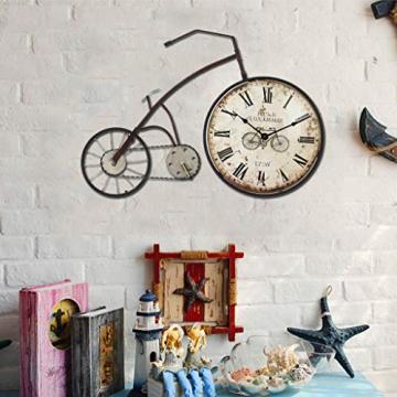 Orologio da Parete Bicicletta/Orologio da Parete Vintage, Numeri Romani in Ferro battuto Orologio Decorativo, Adatto per Soggiorno, Sala da Pranzo, Bar (59 × 38,5 cm) - 5
