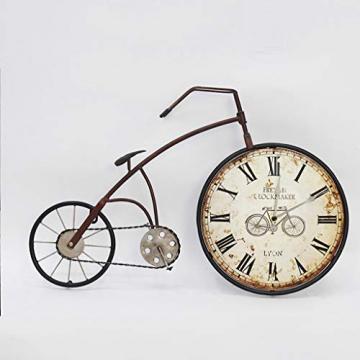 Orologio da Parete Bicicletta/Orologio da Parete Vintage, Numeri Romani in Ferro battuto Orologio Decorativo, Adatto per Soggiorno, Sala da Pranzo, Bar (59 × 38,5 cm) - 6