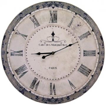 "Orologio da parete grande, shabby chic, con scritta in lingua francese ""Cafe des Marguerites Paris"", diametro 60cm - 1"