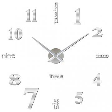 Orologio da Parete SOLEDI Orologio Parete Adesivo 3D Decorazione per Casa Ufficio Hotel Ristorante Fai Da Te Riempire Vuoto Parete 3D Orologio ( Argento e Nero) - 2